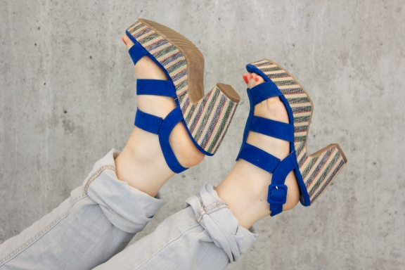 Schuhe Tamaris blau Plateausohle